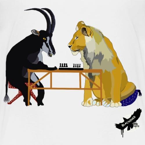 Playing Senet by BlackenedMoonArts, colour w. logo - Børne premium T-shirt