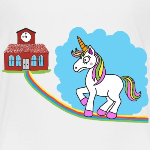 Unicorn goes also to school - T-shirt Premium Enfant