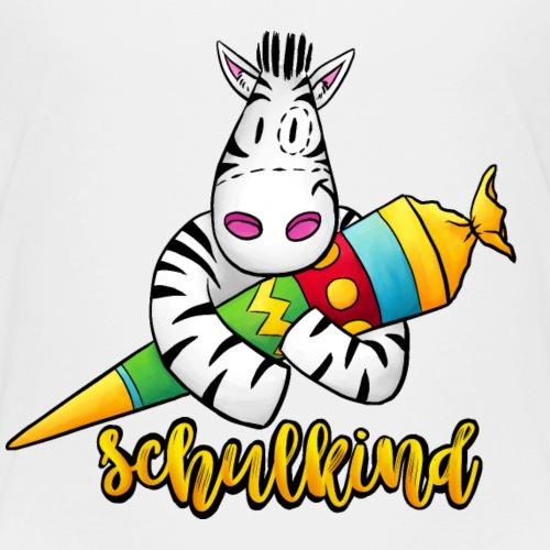 Schulkind - Zebra mit Zuckertüte - Kinder Premium T-Shirt