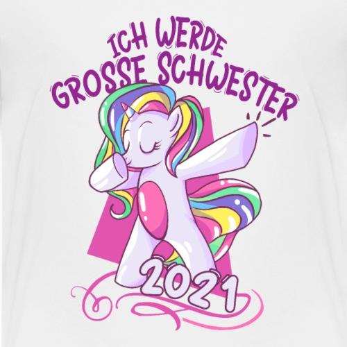 Grosse Schwester 2021 mit Einhorn - Kinder Premium T-Shirt