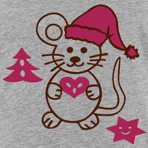 niedliche Maus mit Weihnachtsmütze - Kinder Premium T-Shirt