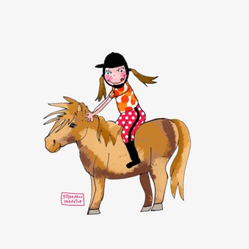 petite fille et poney - T-shirt Premium Enfant