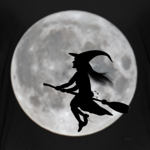Flying witch in front of moon - Kids' Premium T-Shirt