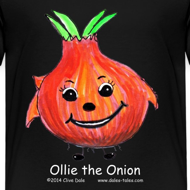 mens black T-shirt Ollie the Onion