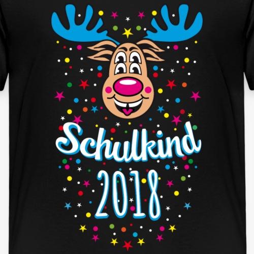 03 Schulkind 2018 Hirsch Rudi Blau Crazy - Kinder Premium T-Shirt