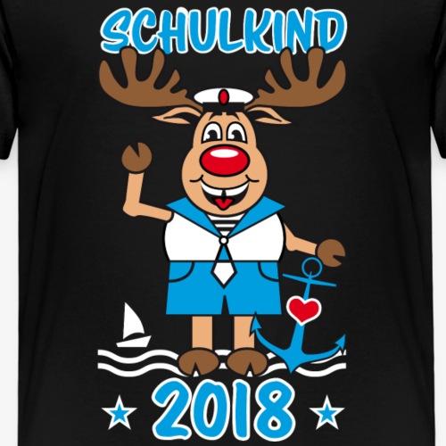 10 Schulkind 2018 Hirsch Rudi Matrose Anker - Kinder Premium T-Shirt