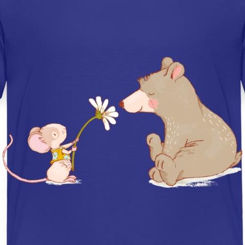 Maus und Baer mit Blume - Kinder Premium T-Shirt