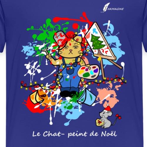Chat-peint de noël blanc - T-shirt Premium Enfant