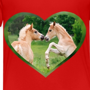 Haflinger foal funny friends with heart - Kids' Premium T-Shirt