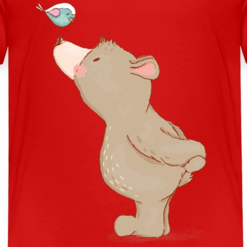 Baer mit Vogel - Kinder Premium T-Shirt
