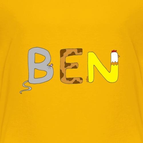 Name Ben mit Tierbuchstaben - Kinder Premium T-Shirt