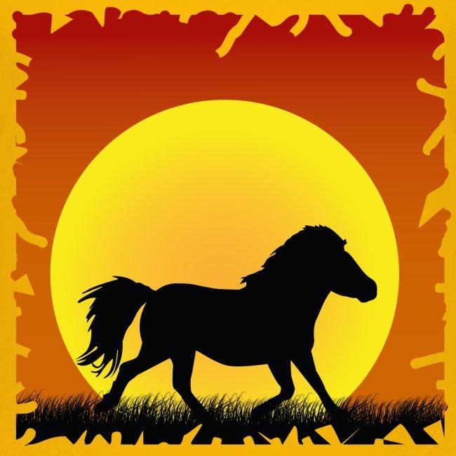 Pony met zonsondergang