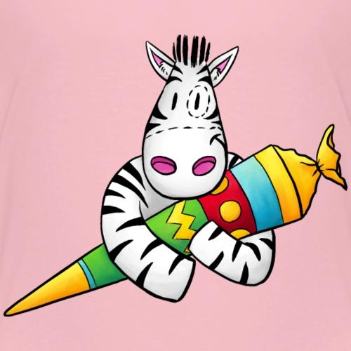 Zebra mit Zuckertüte zum Schulanfang - Kinder Premium T-Shirt