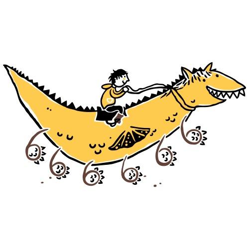 Drache mit 6 Beinen -gelb - Kinder Premium T-Shirt