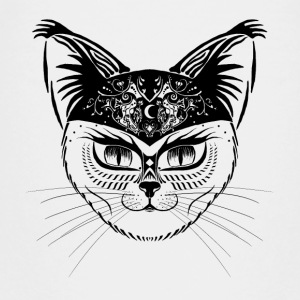 Patterned hipster cat - Black - Teenage Premium T-Shirt