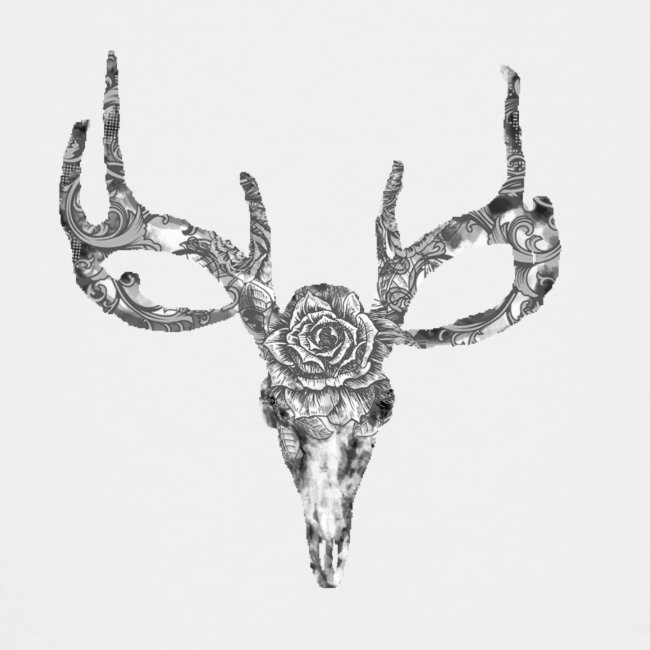 Deer skull with rose
