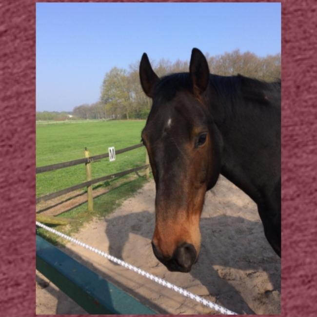 Met bruin paard bedrukt