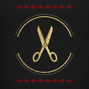 Golden scissors hairdresser design - Teenage Premium T-Shirt