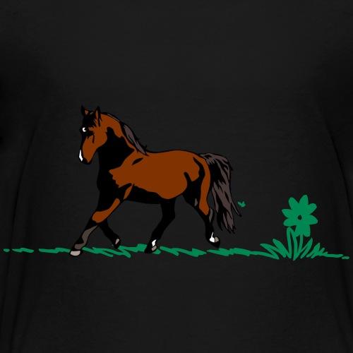 Cartoon Flower on grass - Teenage Premium T-Shirt