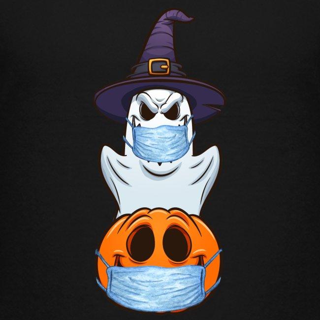 Halloween Geist und Kürbis mit Mund Nasen Schutz