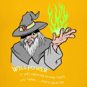 Willpower Wizard Grey / Green Flame - Teenage Premium T-Shirt