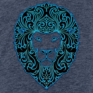 lion with ornament hairs 2 black neon - Teenage Premium T-Shirt
