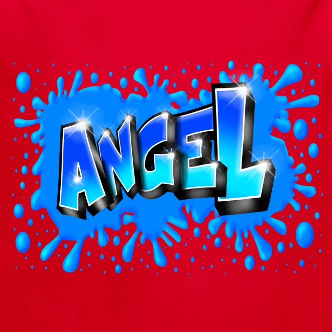 Angel graffiti name with splashs of color