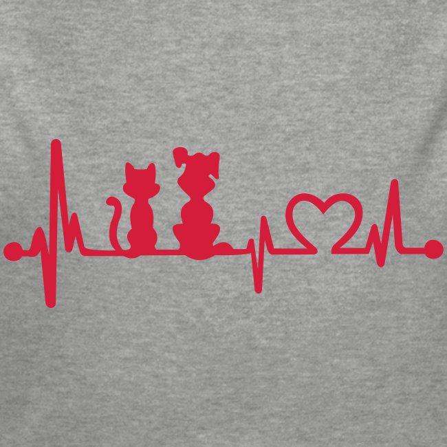 Vorschau: dog cat heartbeat - Baby Bio-Langarm-Body