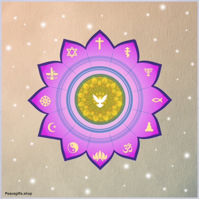 0 1 Dove Surrounded by Religious Symbols.