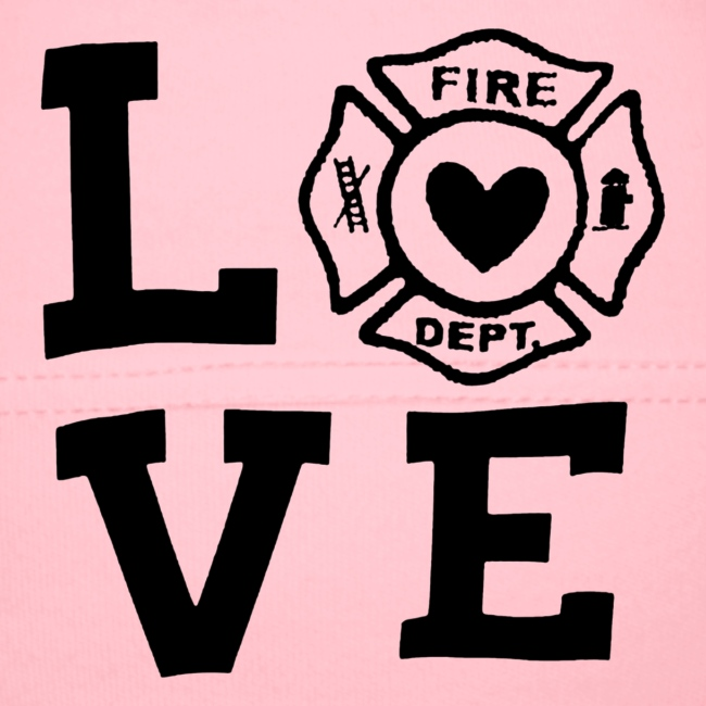 Black Design Love Firefighter
