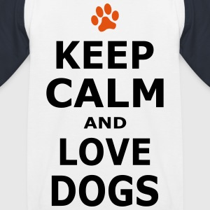 KEEP CALM AND LOVE DOGS - Pfotenabdruck - Kinder Baseball T-Shirt