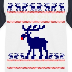 reindeer Christmas pattern Rudolph knitting xmas adv - Kids' Baseball T-Shirt