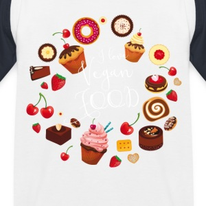 sweetie I love vegan food cakes Kreis süßes obst - Kinder Baseball T-Shirt