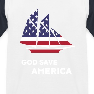 america sail USA Flag God Bless America - Kids' Baseball T-Shirt