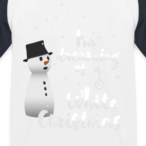 white_christmas Snowman Winter Flakes - Baseboll-T-shirt barn