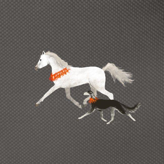 Saluki und Pferd