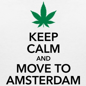 keep calm move to Amsterdam Holland Cannabis Weed - Frauen T-Shirt mit V-Ausschnitt