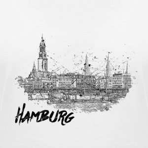 Hamburg city sketch - Women's V-Neck T-Shirt