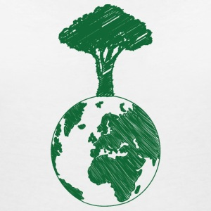 Jord Jord Dag / dag: Earth and Tree - T-shirt med v-ringning dam