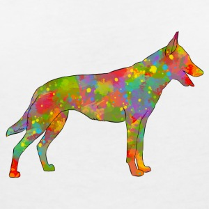 Belgian Shepherd Malinois Multicolored - Women's V-Neck T-Shirt