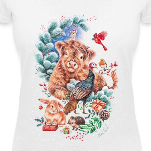 Vegan Christmas with cow and turkey. - Women's Organic V-Neck T-Shirt by Stanley & Stella