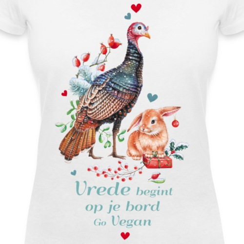 Peace begins on your plate. Go vegan. - Women's Organic V-Neck T-Shirt by Stanley & Stella
