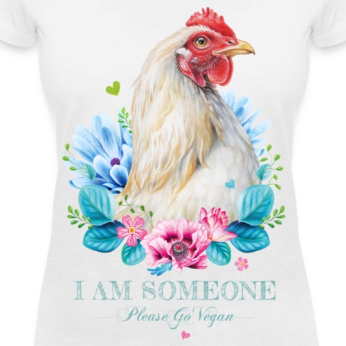 Hen with flowers - Women's Organic V-Neck T-Shirt by Stanley & Stella