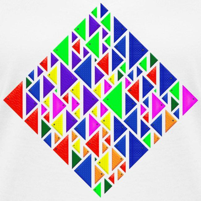 A square school of triangular coloured fish
