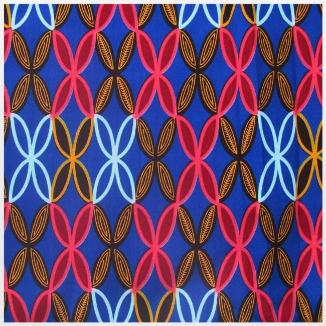 Design motifs bleu rose orange marron