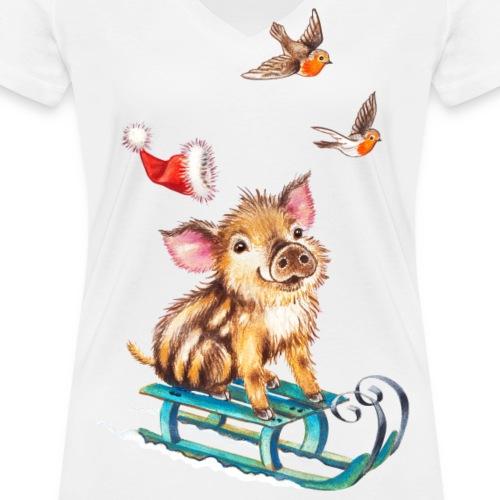 piglet on sled - Women's Organic V-Neck T-Shirt by Stanley & Stella