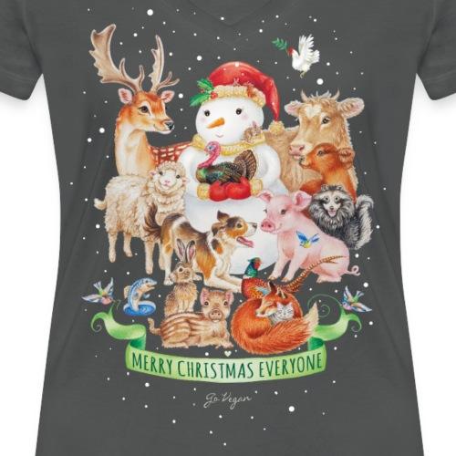 Vegan Christmas - Women's Organic V-Neck T-Shirt by Stanley & Stella