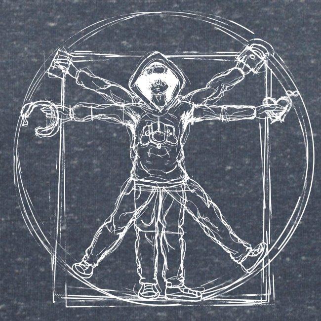 Vitruvian Gamer White Print