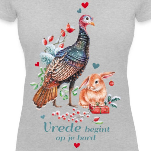 Peace begins on your plate - Women's Organic V-Neck T-Shirt by Stanley & Stella