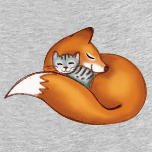 vosje met kat - Vrouwen bio T-shirt met V-hals van Stanley & Stella
